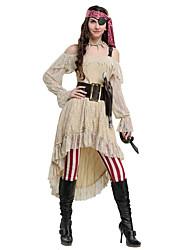 Недорогие -Пираты Карибского моря Пираты Викинг Инвентарь Жен. Косплей из фильмов Бежевый Платье Брюки Головные уборы Хэллоуин Карнавал Маскарад Кожа Полиэстер