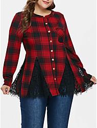 Недорогие -Жен. Кружева / Пэчворк Рубашка Свободный силуэт Классический / Уличный стиль Графика Черный и красный