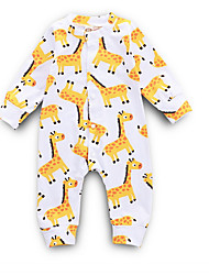 cheap -Baby Girls' Street chic Daily Print Long Sleeve Polyester Romper Yellow