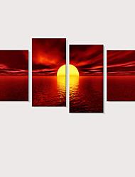 Недорогие -С картинкой Отпечатки на холсте - Пейзаж Фото Modern 4 панели Репродукции