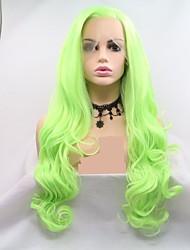 hesapli -Sentetik Dantel Ön Peruk Kadın's Vücut Dalgası Yeşil Katmanlı Saç Kesimi % 130 İnsan Saç Yoğunluk Sentetik Saç 24 inç Kadın Yeşil Peruk Uzun Ön Dantel floresan yeşil Sylvia