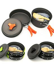 Недорогие -ARDI® Набор походной посуды Походная кастрюля Походная сковорода Столовые наборы принадлежность Легкость Алюминиевый сплав на открытом воздухе за Пешеходный туризм Походы Черный Оранжевый Зеленый