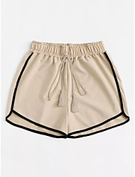 abordables -pantalon chino / short femme en vrac - patchwork rayé beige