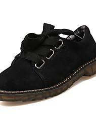 halpa -Naisten PU Kevät Oxford-kengät Matala korko Pyöreä kärkinen Musta / Beesi