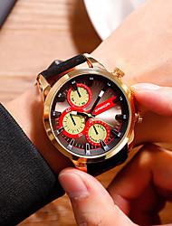 Недорогие -Муж. Нарядные часы Кварцевый Кожа Черный / Оранжевый Защита от влаги Крупный циферблат Аналоговый На каждый день Мода - Черный / Красный Синия / Черный Черный / Серебристый