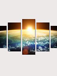 Недорогие -С картинкой Отпечатки на холсте - Пейзаж Фото Modern 5 панелей Репродукции
