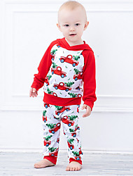 cheap -Baby Boys' Street chic Daily Print Long Sleeve Regular Polyester Clothing Set Red
