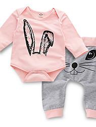 levne -Dítě Dívčí Aktivní Denní Tisk Dlouhý rukáv Standardní Polyester Sady oblečení Světlá růžová