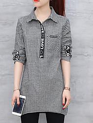 olcso -női ázsiai méretű vékony póló - színes színű ing gallér