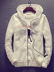 Недорогие -Муж. Повседневные Классический Осень Обычная Куртка, Контрастных цветов Капюшон Длинный рукав Полиэстер Аппликация Оранжевый / Серый / Лиловый L / XL / XXL