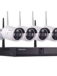 Недорогие -4-канальная 960p 1-мегапиксельная беспроводная система видеонаблюдения (комплекты Wireless NVR) под открытым небом 600м