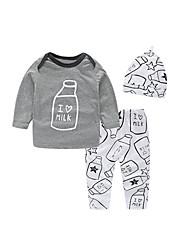 cheap -Baby Boys' Active / Basic Daily Print Long Sleeve Regular Regular Cotton Clothing Set Light gray