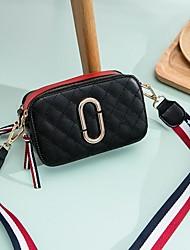 hesapli -Kadın's Çantalar PU Omuz çantası Fermuar için Günlük Bahar Siyah / YAKUT / Kırmızı siyah