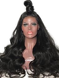 Недорогие -Не подвергавшиеся окрашиванию Лента спереди Парик Стрижка каскад стиль Бразильские волосы Естественные кудри Черный Парик 180% Плотность волос с детскими волосами Природные волосы 100