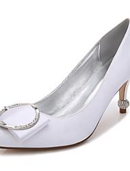 hesapli -Kadın's Ayakkabı Saten İlkbahar yaz Tatlı Düğün Ayakkabıları Stiletto Topuk Sivri Uçlu Düğün / Parti ve Gece için Taşlı / Işıltılı Pullar / Toka Mavi / Açık Kahverengi / Kristal
