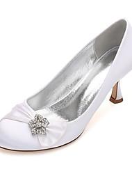 hesapli -Kadın's Ayakkabı Saten İlkbahar yaz Tatlı Düğün Ayakkabıları Kıvrımlı Topuk Yuvarlak Uçlu Düğün / Parti ve Gece için Saten Çiçek / Işıltılı Pullar / Toka Mavi / Açık Kahverengi / Kristal