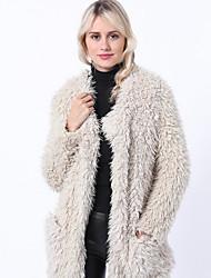 ราคาถูก -สำหรับผู้หญิง ทุกวัน ฤดูใบไม้ร่วง & ฤดูหนาว ปกติ แจ๊คเก็ต, สีพื้น Rolled collar แขนยาว สังเคราะห์ / เส้นใยสังเคราะห์ ขาว XL / XXL / XXXL