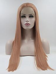 voordelige -Pruik Lace Front Synthetisch Haar Dames Recht Roze Gratis deel 180% Human Hair Density Synthetisch haar 18-26 inch(es) Verstelbaar / Kant / Hittebestendig Roze Pruik Lang Kanten Voorkant Roze