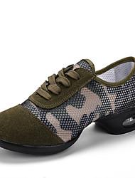 abordables -Femme Baskets de Danse Maille Basket Fantaisie Talon Plat Personnalisables Chaussures de danse Vert Véronèse