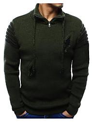 ราคาถูก -สำหรับผู้ชาย ทุกวัน สีพื้น แขนยาว ปกติ ผ้าคลุมหลัง สีดำ / อาร์มี่ กรีน / เทาอ่อน L / XL / XXL