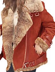 Недорогие -Жен. Повседневные Классический Большие размеры Обычная Куртка, Однотонный Лацкан с тупым углом Длинный рукав Полиэстер Черный / Красный / Серый XXXL / XXXXL / XXXXXL