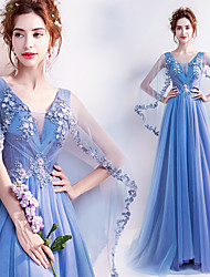 저렴한 -Cinderella 드레스 여성용 영화 코스플레이 블루 드레스 할로윈 카니발 가장 무도회 레이스 면 자수장식