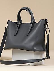 Недорогие -женские сумки из кожи наппа сплошной цвет черный / серый