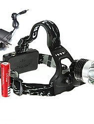 Недорогие -Налобные фонари Велосипедные фары Фары для велосипеда 1800 lm Светодиодная лампа 1 излучатели 3 Режим освещения с батарейками и зарядным устройством Перезаряжаемый Угловой фонарь