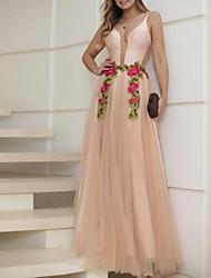 Недорогие -Жен. Классический Оболочка Платье - Однотонный, Открытая спина / Сетка Макси