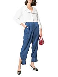 Недорогие -женские свободные брюки чинос - сплошной синий с высокой талией