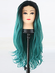 hesapli -Sentetik Dantel Ön Peruk / Ombre Kadın's Gevşek Kıvırmak Yeşil Orta kısım Sentetik Saç 24 inç Parti / Kadın / sentetik Yeşil Peruk Uzun Ön Dantel Siyah / Koyu Yeşil