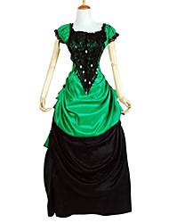Недорогие -Классическая и традиционная Лолита Викторианский стиль Satin Для вечеринок Выпускной Жен. Платья Косплей Черный С пышной юбкой С короткими рукавами Длинный Большие размеры Индивидуальные костюмы