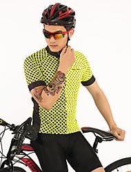 お買い得  -FirtySnow 男性用 半袖 サイクリングジャージー - イエロー 水玉柄 / チェック柄 バイク ジャージー, 高通気性 速乾性 ポリエステル / 伸縮性あり