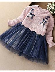 Недорогие -Дети Девочки Классический Однотонный Длинный рукав Платье Синий