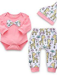 ราคาถูก -ทารก เด็กผู้หญิง Street Chic ทุกวัน ลายพิมพ์ แขนยาว ปกติ เส้นใยสังเคราะห์ ชุดเสื้อผ้า สีแดงชมพู