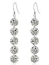 hesapli -1 çift Kadın's Kübik Zirconia Uzun Damla Küpeler - Simüle Elmas Tatlı Moda Mücevher Gümüş Uyumluluk Düğün Parti