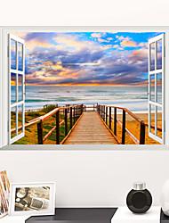 Недорогие -Декоративные наклейки на стены - Простые наклейки Пейзаж Гостиная / Спальня / Ванная комната