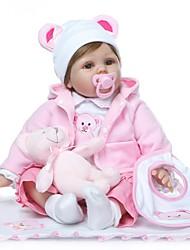 Недорогие -NPKCOLLECTION NPK DOLL Куклы реборн Кукла для девочек Девочки 24 дюймовый как живой Подарок Искусственная имплантация Коричневые глаза Детские Девочки Игрушки Подарок