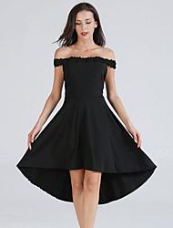 Недорогие -женская прогулка / пляжное платье длиной до колена высокая талия с плеча лето вино черное синее s m l xl