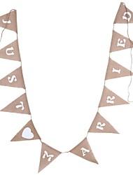 Недорогие -3м льняные флаги молодоженов баннер льняные флаги джутовые мешковины вымпелы баннеры свадебные украшения фестиваль украшение партии