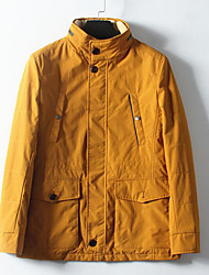 ราคาถูก -สำหรับผู้หญิง ทุกวัน ฤดูใบไม้ร่วง & ฤดูหนาว ปกติ แจ๊คเก็ต, สีพื้น คอกลม แขนยาว สังเคราะห์ / เส้นใยสังเคราะห์ สีเหลือง M / L / XL