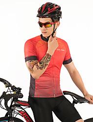 お買い得  -FirtySnow 男性用 半袖 サイクリングジャージー - 赤 + ブラウン 縞柄 バイク ジャージー, 高通気性 速乾性 ポリエステル / 伸縮性あり