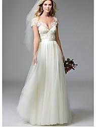 billige -A-linje V-hals Hoffslep Blonder / Tyll Made-To-Measure Brudekjoler med Blonder av LAN TING BRIDE®