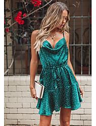 cheap -Women's Polka Dot Daily Going out Beach Street chic Mini A Line Dress - Polka Dot Print Strap Summer Green S M L / Sexy