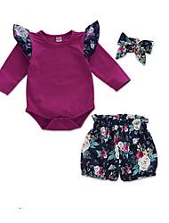 お買い得  -赤ちゃん 女の子 活発的 日常 フラワー 長袖 レギュラー ポリエステル アンサンブル パープル