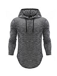 hesapli -Erkekler uzun kollu hoodie - renk bloğu / geometrik kapüşonlu açık gri m