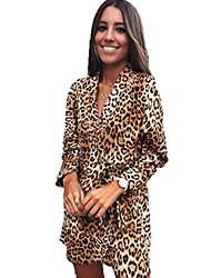 halpa -Naisten A-linja Mekko - Leopardi, Painettu Midi