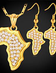 Недорогие -Жен. Синтетический алмаз Комплект ювелирных изделий - Хрусталь, Золотистый, Стразы Карты Дамы, Африка Включают Золотой / Серебряный Назначение Свадьба Повседневные