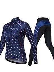 Χαμηλού Κόστους -Realtoo Μακρυμάνικο Φανέλα με κολάν για ποδηλασία - Σκούρο Μπλε Μαρέν Ποδήλατο Αναπνέει Spandex Κλασσικά / Μικροελαστικό