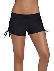 Недорогие -Жен. Классический Черный Мальчик ноги Трусики, шорты и т.д. Купальники - Однотонный XL XXL XXXL